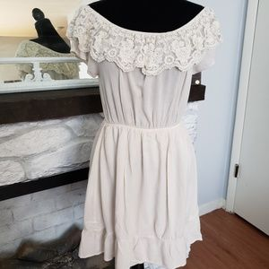 Monteau cream color pesant dress. Size Medium